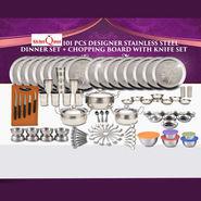 101 Pcs Designer Stainless Steel Dinner Set + Chopping Board & Knife Set