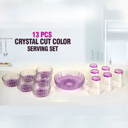 13 Pcs Crystal Cut Color Serving Set