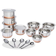 15 Pcs Copper Base Cook & Serving Set + Free 5 Pcs Kitchen Tool