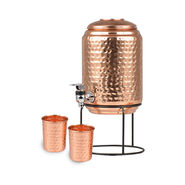 5 Ltrs Copper Pot with Stand + 2 Glasses