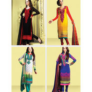 Set of 4 Embroidered Pakistani Dress Material (4EMP1)