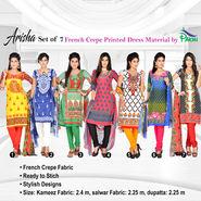 Arisha Set of 7 French Crepe Printed Dress Material by Pakhi (7FCDM3)