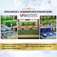 Joyful Pack of 5 - 3D Bedsheets with 10 Pillow Covers (5BS12)