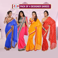 Pack of 4 Designer Sarees by Zuri (4DS1)