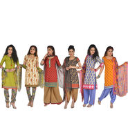 Pack of 6 Kurta Material + 3 Bottom Material + 3 Dupatta by Pakhi (6PDM1)