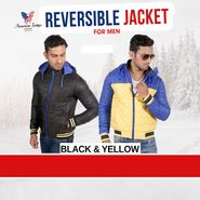 American Indigo Reversible Jacket For Men - Black & Yellow