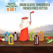 Royal Chef 6 in 1 Drum Slicer, Shredder & French Fries Cutter