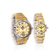Scottish Club Platinum Round Dial Couple Watch Combo