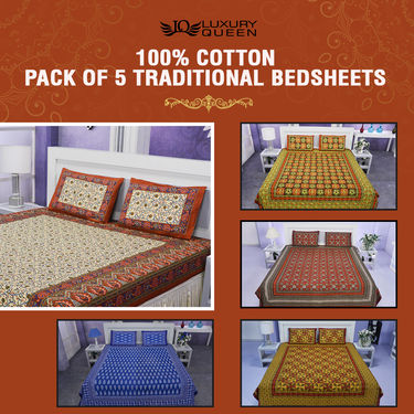100% Cotton Pack of 5 Traditional Bedsheets (5BS34)