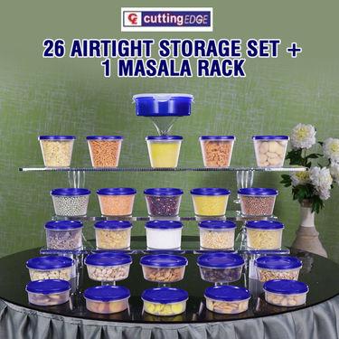 26 Airtight Storage Set + 1 Masala Rack