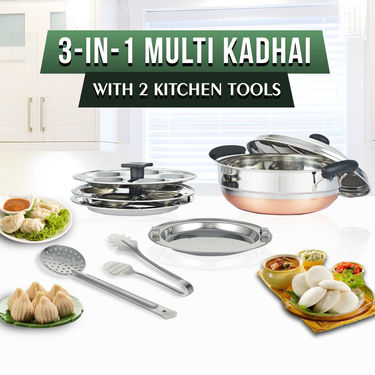 Copper Bottom 3 in 1 Multikadai with Free 2 Kitchen Tools