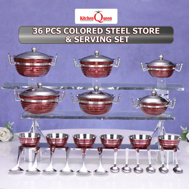 36 Pcs Colored Steel Store & Serving Set