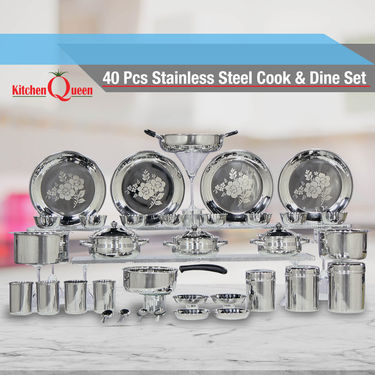 40 Pcs Stainless Steel Cook & Dine Set