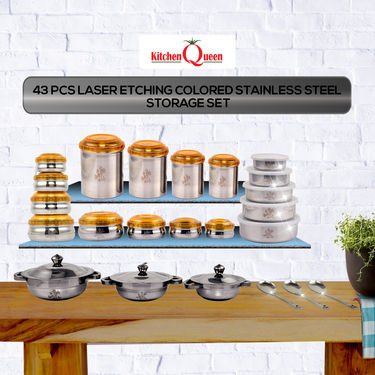 43 Pcs Laser Etching Colored Stainless Steel Storage Set