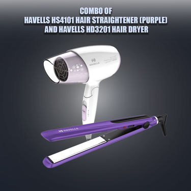 Combo of Havells HS4101 Hair Straightener (Purple) And Havells HD3201 Hair Dryer