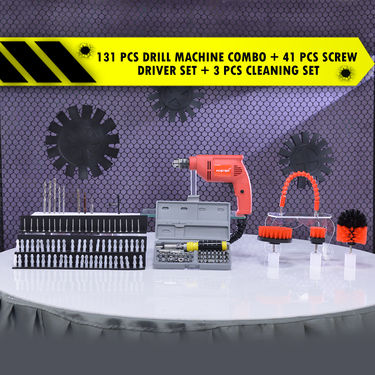 131 Pcs Drill Machine Combo + 41 Pcs Screw Driver Set + 3 Pcs Cleaning Set