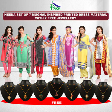 Heena Set of 7 Mughal Inspired Printed Dress Material by Pakhi (7PDM3) with 7 Free Jewellery