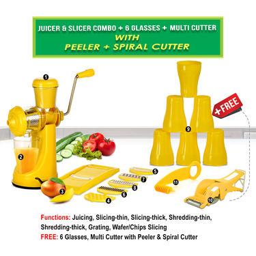 Juicer & Slicer Combo + 6 Glasses + Multi Cutter with Peeler + Spiral Cutter