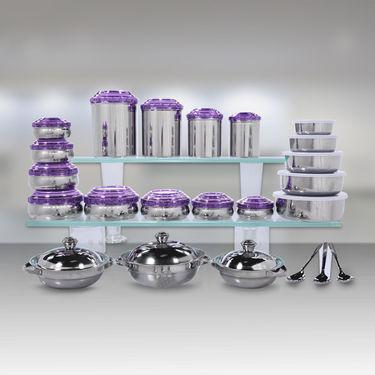 Kitchen Queen 43 Pcs Coloured Stainless Steel Storage Set