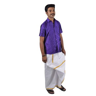 Mr. Tusker Pack of 3 Shirts + 1 Veshti with Golden Jari (3SL1)