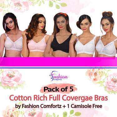 Pack of 5 Cotton Rich Full Covergae Bras by Fashion Comfortz + 1 Camisole Free