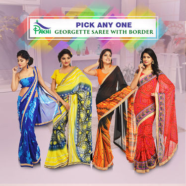 Pick Any One Georgette Saree with Border by Pakhi (AGS1)
