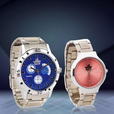 Platinum Pink & Blue Couple Watch Combo