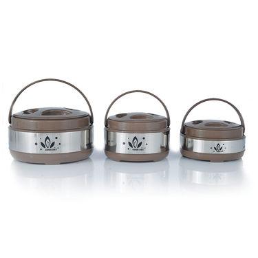 Set of 3 Steel Casserole with 4 Storage Set