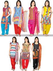 Manasvi Set of 7 Printed Dress Material (7P1)