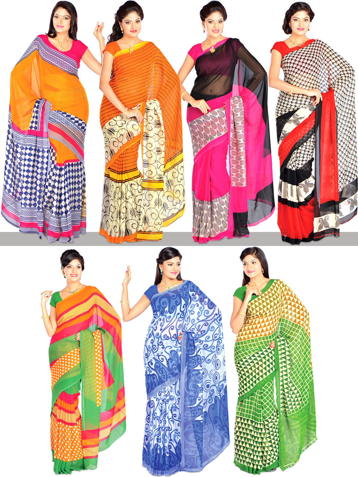 3a11c8217a Buy Exotic Collection of 7 Georgette Sarees (7G8) Online at Best Price in  India on Naaptol.com